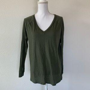 PINK Victoria's Secret Tops - Victoria's Secret PINK Long Sleeve V Neck green
